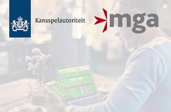 I loghi delle gaming authority di Malta e dell'Olanda e un ragazzo sul sito di un bookmaker online