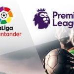 I loghi di Liga e Premier League e un calciatore