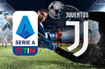 I loghi della Serie A e della Juventus e un calciatore in azione