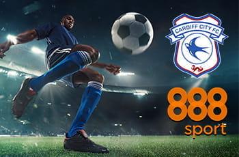 I loghi di 888sport e Cardiff City e un calciatore in azione