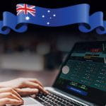 La bandiera dell'Australia e un tablet che naviga su un sito di scommesse