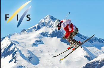 Il logo della FIS, uno sciatore generico in azione