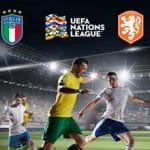 Il logo della nazionale Italiana, il logo della nazionale olandese, il logo della UEFA Nations League, dei giocatori di calcio in azione