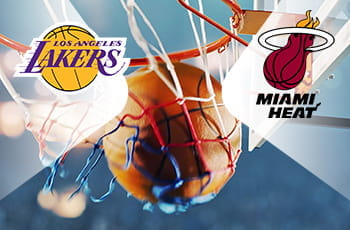 Il logo dei Los Angeles Lakers, il logo dei Miami Heat, un pallone da basket in un canestro