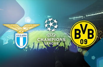 I loghi di Lazio, Borussia Dortmund e Champions League sullo sfondo di uno stadio affollato