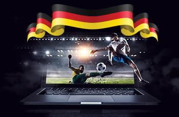 Lo schermo di un laptop con un calciatore in acrobazia e la bandiera della Germania