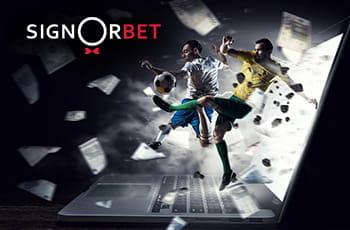 Il logo di Signorbet, due calciatori in azione e un laptop