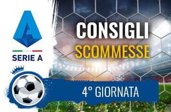 Il logo della Serie A, una porta di calcio e la scritta Consigli scommesse 4° giornata