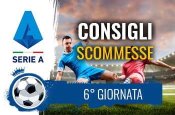 Il logo della Serie A, due calciatori a contrasto e la scritta Consigli scommesse 6° giornata