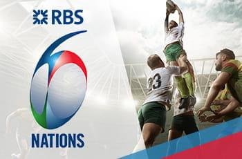 Il logo del 6 Nazioni di rugby e dei rugbisti impegnati in una touche