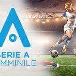 Il logo della Serie A femminile e una calciatrice in azione