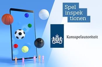 I loghi di SGA e KSA, uno smartphone e delle palle sportive