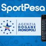 I loghi di SportPesa e dell'Agenzia Dogane e Monopoli e uno smartphone