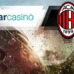 I loghi di StarCasinò e Milan e un calciatore in azione