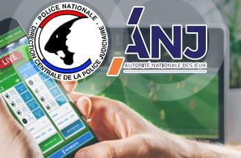 Il simbolo della DCPJ e dell'ANJ francesi e uno smartphone collegato al sito di un bookmaker online