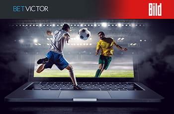 I loghi di BetVictor e Bild e due calciatori in azione