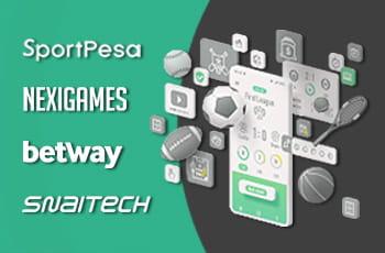 I loghi di SportPesa, Nexigames, Betway e Snaitech e dei palloni sportivi e uno smartphone