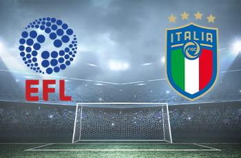 I loghi di EFL e FIGC e la porta di un campo da calcio