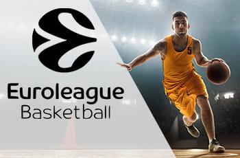 Il logo della Euroleague e un giocatore di basket in azione