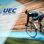 Il logo dei campionati europei di ciclismo su pista e un corridore