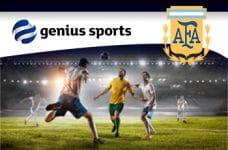 I loghi di Genius Sports Group e AFA e alcuni calciatori in azione