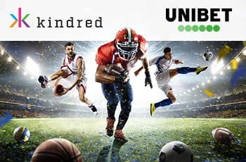 Il logo di Kindred Group, il logo di Unibet, degli sportivi in azione