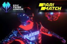 Il logo del bookmaker Parimatch, il logo della EPIC League, un giocatore di eSports in azione.