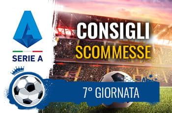 Il logo della Serie A, uno stadio e un pallone da calcio e la scritta Consigli scommesse 7° giornata