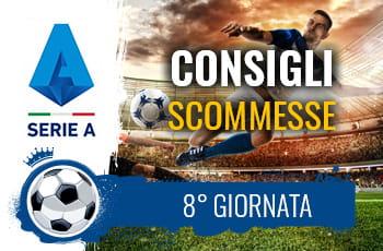 Il logo della Serie A, un calciatore in azione e la scritta Consigli scommesse 8° giornata