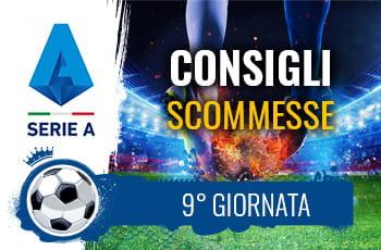 Il logo della Serie A, un calciatore e la scritta Consigli scommesse 9° giornata