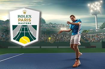 Il logo dell'ATP Master 1000 di Parigi-Bercy e un tennista in azione