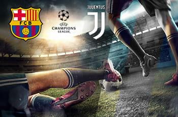 I loghi di Barcellona, Juventus e Champions League