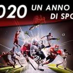 """La scritta """"2020 anno di sport"""" e diversi sportivi in azione"""