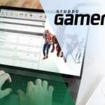 Il logo di Gamenet Group e un computer connesso a un sito di scommesse
