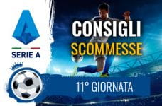 Il logo della Serie A, un calciatore in azione e la scritta Consigli scommesse 11° giornata
