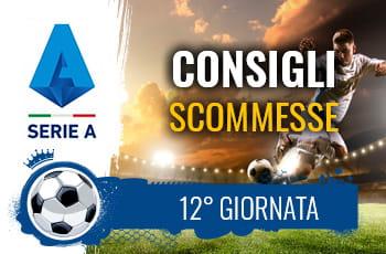 Il logo della Serie A, un calciatore al tiro e la scritta Consigli scommesse 12° giornata