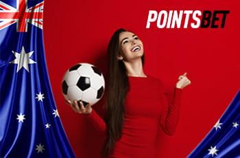 Il logo di PointsBet, la bandiera australiana e una ragazza con un pallone