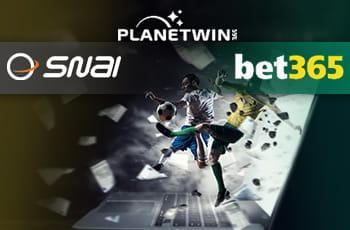 I loghi di SNAI, Planetwin365 e bet365 e calciatori in azione sullo sfondo di un laptop