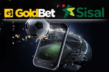 Il logo di GoldBet, il logo di Sisal, un pallone da calcio, uno smartphone e uno stadio.