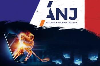 Il logo di ANJ e la sagoma di un giocatore di hockey su ghiaccio