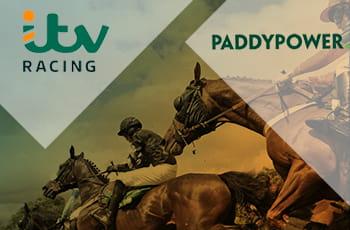 Il logo di ITV Racing, il logo di Paddy Power, una corsa di cavalli