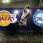 I loghi di Los Angeles Lakers, Philadelphia 76ers e un giocatore di basket in azione
