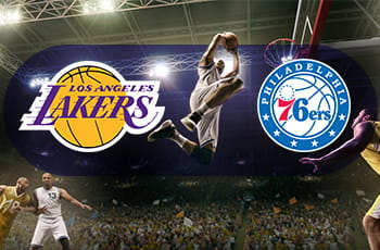 I loghi di Los Angeles Lakers, Philadelphia 76ers e un giocatore di basket in azione