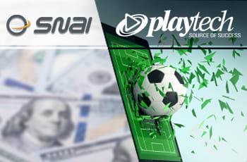 I loghi di SNAI e Playtech e un pallone da calcio che fuoriesce da un laptop