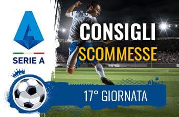 Il logo della Serie A, un calciatore che fa una acrobazia e la scritta Consigli scommesse 17° giornata