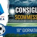 Il logo della Serie A, uno stadio e la scritta Consigli scommesse 18° giornata