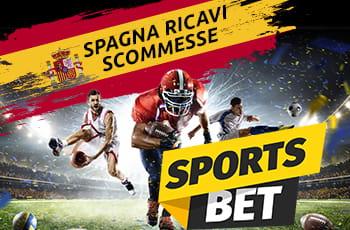 """Sportivi di varie discipline e le scritte """"Spagna ricavi scommesse"""" e """"Sports Bet"""""""