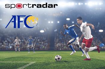 I loghi di Sportradar e AFC e alcuni giocatori in azione