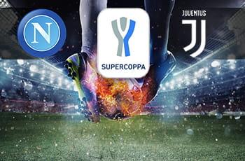 Il logo del Napoli, il logo della Supercoppa italiana 2020, il logo della Juventus