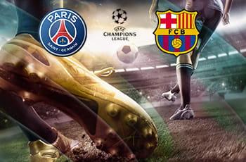 Il logo della Champions League, il logo del PSG, il logo del Barcellona